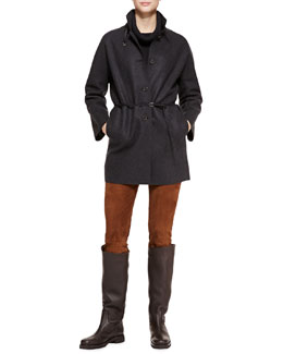 Loro Piana Spencer Belted Cashmere Coat, Tunica Textured Cashmere Cowl-Neck Sweater & Ethan Stretch-Suede Slim Pants