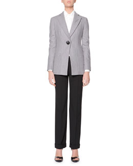 Giorgio Armani Wool Flannel One-Button Jacket & Long-Sleeve Covered-Button Silk Satin Blouse