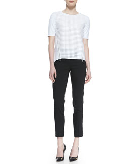 Elie Tahari Brinson Perforated-Front Blouse with Zip Sides & Jillian Slim Cropped Pants