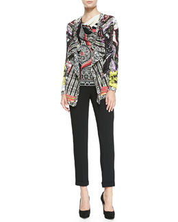 Etro Hawaiian Paisley Sheer-Striped Cascade Cardigan, Jersey Top & Solid Cuffed Cady Cigarette Pants