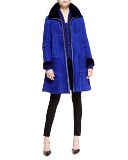 Armani Collezioni Shearling Long Trapeze Coat, Ribbed Button-Front Jacket & Stretch Jersey Tank Top
