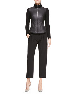 Armani Collezioni Shearling/Ottoman-Knit Zip-Front Jacket & Wool Pleated Cropped Pants
