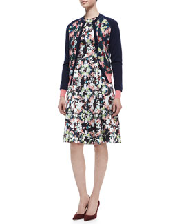 Erdem Dorothy Floral Long-Sleeve Cardigan & Bunty Floral Silk Dress with Full Skirt
