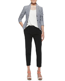 Rag & Bone Nancy Linen-Blend Blazer, Franklin Cutout-Yoke Crepe Top & Park Cropped Tapered Crepe Pants