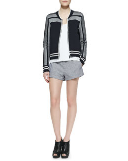 Rag & Bone Sammi Jersey Zip-Front Jacket, Chieftain Crepe Racerback Tank & Nesi Side-Stripe Shorts