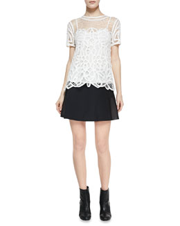 Rag & Bone Nancy Sheer Netted/Lace Blouse & Montrose Flared Leather-Panel Skirt