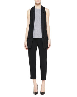 Rag & Bone Ines Racerback Suiting Vest, Adeline Patterned Sleeveless Top & Park Cropped Tapered Crepe Pants