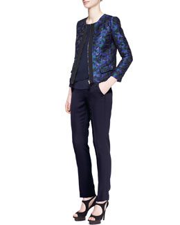 Armani Collezioni Harlequin Jacquard Zip-Front Jacket, Sleeveless Draped CDC Blouse & Side Zip Techno Cady Slim Pants