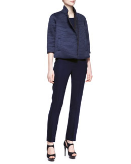 Armani Collezioni Scuba Mesh Zip-Front Swing Jacket & Side Zip Techno Cady Slim Pants
