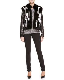Roberto Cavalli Leather-Sleeve Patchwork Fur Jacket, Tile-Print Silk-Twill Tee & Punto Stoffa Legging Pants