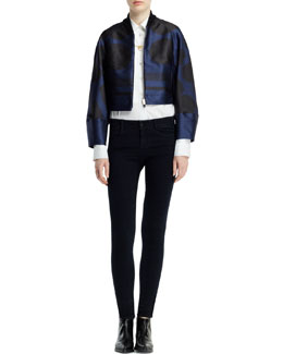 Stella McCartney Folded Dot Jacquard Zip Jacket, Long-Sleeve Button-Front Tuxedo Blouse & The Skinny Ankle-Grazer Jeans