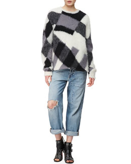 McQ Alexander McQueen Crew Neck Mohair-Blend Sweater & Patched Boyfriend Jeans