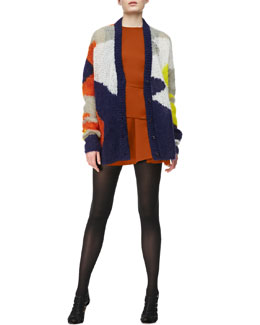 McQ Alexander McQueen Open-Knit Patchwork-Print Cardigan & Round-Neck Peplum Dress