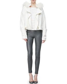 L'Agence Oversized Fur-Hood Jacket, Wool-Blend Stripe Cocoon-Sleeve Top & Lambskin Leggings