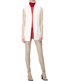 Helmut Lang Erosion Long Snap Vest, Mohair-Silk Sleeveless Turtleneck & Contrast-Waist Leather Leggings