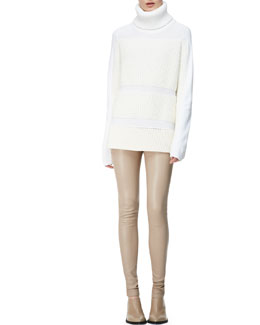 Helmut Lang Textured-Inlay Turtleneck & Contrast-Waist Leather Leggings