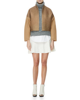 3.1 Phillip Lim Felted Wool Jacket, Sleeveless High-Low Turtleneck Sweater, Sleeveless Poplin Blouse & Felted Wool Skirt