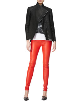 Helmut Lang Billow Paneled Leather Zip Jacket, Pact Jersey Wide Tank & Contrast-Waist Leather Leggings