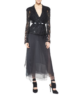 Donna Karan Belted Long-Sleeve Sequined Jacket & Silk Skirt