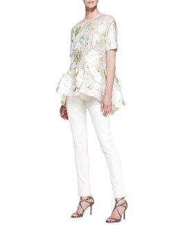 Lela Rose Short-Sleeve Gold Leaf Floral Blouse & Catherine Pants