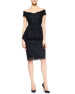 Lela Rose Off-the-Shoulder Wide V-Neck Lace Top & Straight Lace Skirt