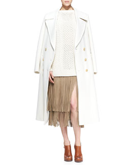 Michael Kors  Double-Breasted Wool Coat, Mixed-Knit Wool Sweater & Suede Fringe Skirt