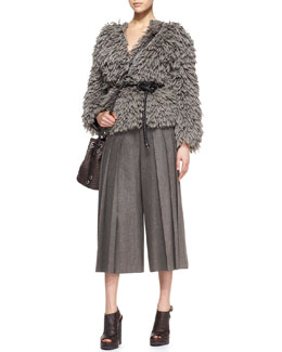 Michael Kors  Textured Wool-Blend Sweater & Pleated Cropped Wide-Leg Pants