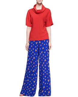 Carolina Herrera Short-Sleeve Knit Loose-Turtleneck Top & Wide-Leg Fantasy-Print Pants