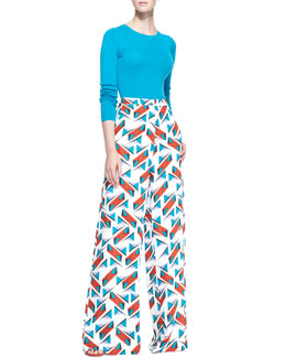 Carolina Herrera Long-Sleeve Crewneck Sweater & Wide-Leg Abstract-Print Pants