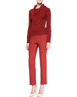 Carolina Herrera Embroidered Long-Sleeve Turtleneck Sweater & Cropped Stretch Wool Straight-Leg Pants
