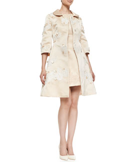 Dolce & Gabbana Appliquéd Satin A-Line Coat and Embellished Satin Dress