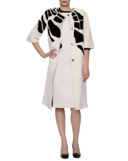 Bottega Veneta 3/4-Sleeve Jewel-Neck Croc-Intarsia Shearling Coat & Sleeveless Colorblock Crepe Dress