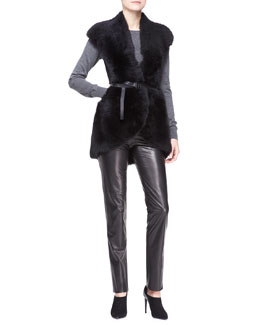 Bottega Veneta Shearling & Merino Wool Vest, Cashmere Crewneck Sweater & Skinny Leather Pants