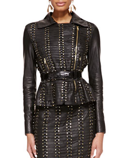 Oscar de la Renta Studded Leather Jacket and Alligator & Leather Belt
