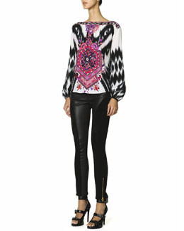 Emilio Pucci Long-Sleeve Mosaic-Print Silk Top & Leather Panel Zip Ankle Leggings