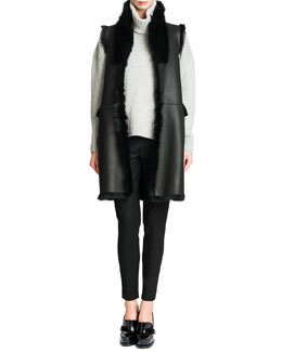 Jil Sander Reversible Shearling Fur/Leather Vest, Elbow-Patch Cashmere Turtleneck Sweater & Tab-Front Zipper-Cuff Slim Pants