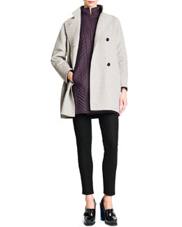 Wool/Cashmere Button-Front Coat, Quilted Drop-Shoulder Tech Coat & Tab-Front Zipper-Cuff Slim Pants