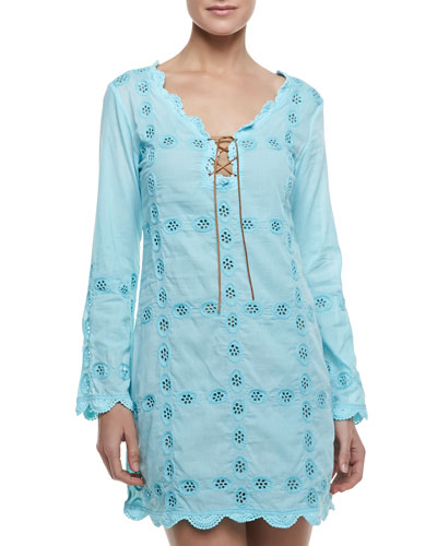 Long-Sleeve Embroidered Coverup Dress & Formfitting Camisole Slip