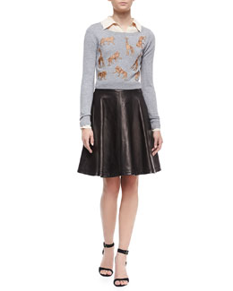 Diane von Furstenberg Praia Long-Sleeve Cropped Sweater, Lorelei Long-Sleeve Silk Blouse & Riley Flowy Leather Skirt