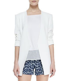 Alice + Olivia Slim-Cut Long Blazer & Open-Shoulder Chiffon Tee & Cady Leopard-Print Cuffed Shorts
