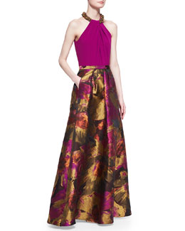 Carmen Marc Valvo Beaded-Neck Halter Top & Abstract Floral-Print Ball Skirt