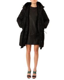 Acne Studios Fur-Trim Long Powder Jacket and Crocodile-Embossed Leather Dress