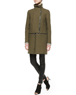 J Brand Ready to Wear Anise Knit Zip-Off Coat, Helms Knit Bateau-Neck Sweater & Claudette Leather Pants, Black