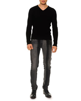 Textured V-Neck Sweater & Patch Stripe Straight-Leg Jeans