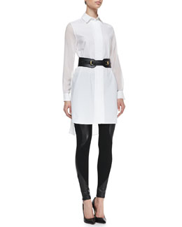Poplin & Sheer Shirtdress, Leather/Knit Swirl-Panel Leggings and Equestrian Faux Leather Cinch Belt