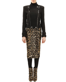 Cotton Classic Motorcycle Jacket, Button-Shoulder Sweater & Leopard Jacquard Pencil Skirt