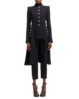 Alexander McQueen Arch-Front Military-Style Coat & High-Waist Skirted Cropped Pants