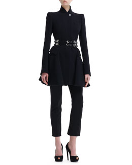 Alexander McQueen Kate High-Collar Flared Coat, High-Waist Skirted Cropped Pants & Double-Row Sliding-Charm Belt