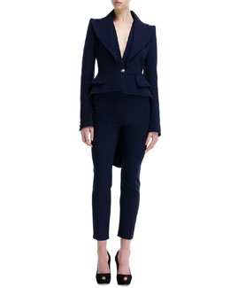 Alexander McQueen Wool Double-Lapel One-Button Jacket & High-Waist Wool Ankle Pants