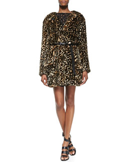 Nina Ricci Leopard-Print Faux Fur Jacket & Sleeveless Fit-and-Flare Dress with Lace